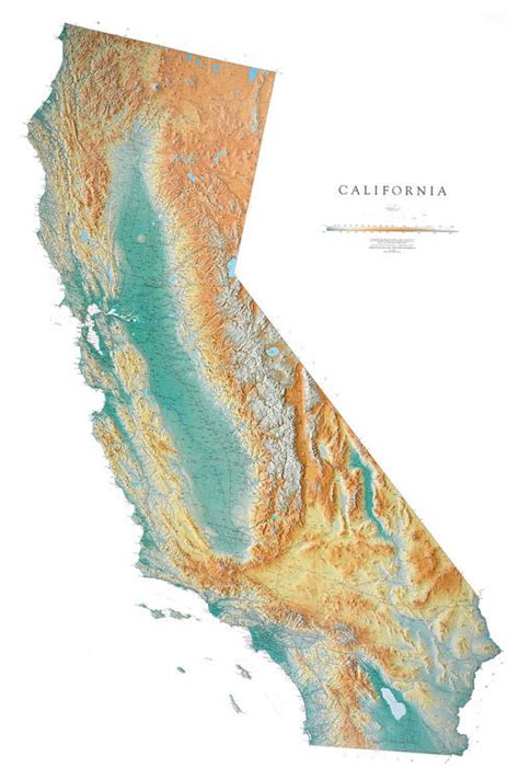 california wall map a spectacular physical map of california