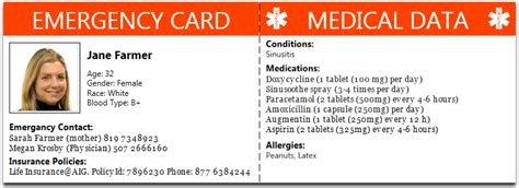 medical alert card template emergency card private