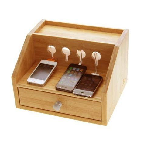 Office Drawer Tidy by Woodquail Bamboo Gadgets Desktop Organiser Cable