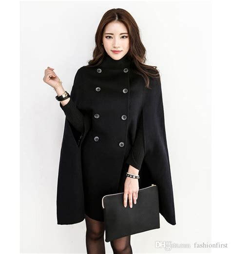 Cape Blazer Jacket Jaket 2018 black breasted cape coat wool winter jacket cloak for from