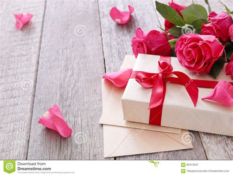 Gorgeous Valentines Gifts by Roses And Gift Stock Photo Image 66413437