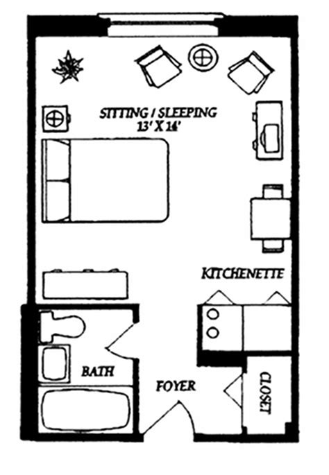 Super Simple Studio Floor Plan Ideas Pinterest One Bedroom Design Layout