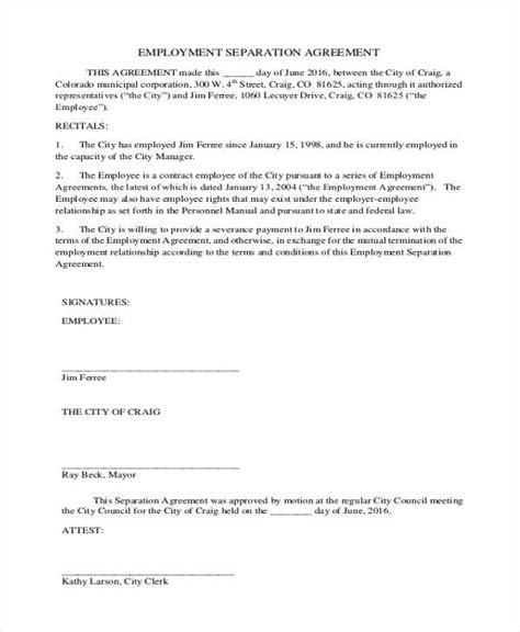 employment separation agreement 9 employment agreement form sles free sle