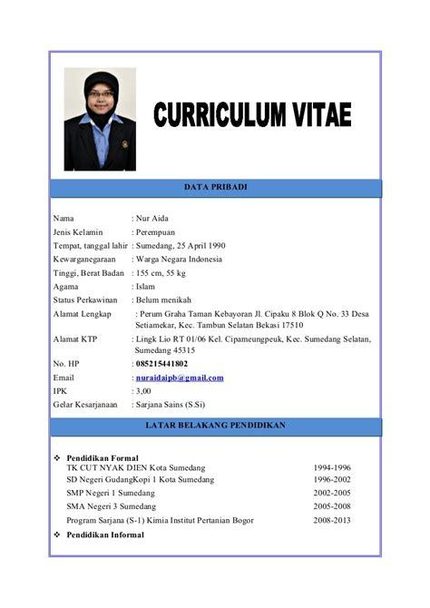 Format Curriculum Vitae Untuk Narasumber | cv nur aida