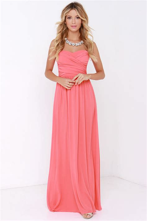 chagne colored bridesmaid dresses lovely coral pink dress strapless dress maxi dress
