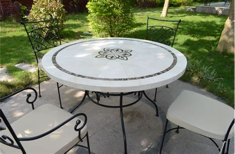 stone top patio table 125 160cm outdoor garden round mosaic marble stone table