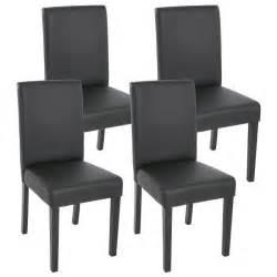 lot de 4 chaises de salle 224 manger simili cuir noir m 226 t