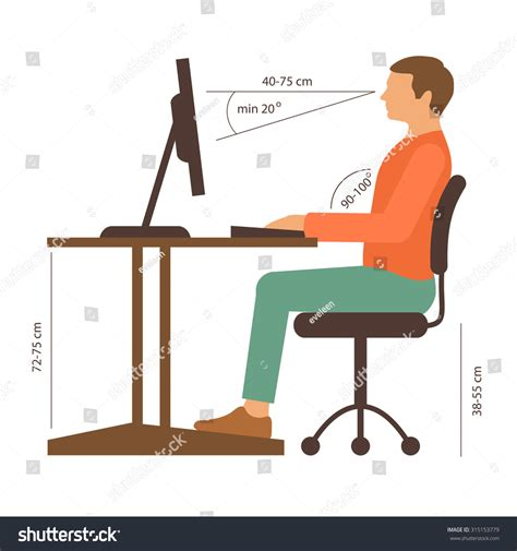 Correct Back Sitting Position Vector Illustration Stock