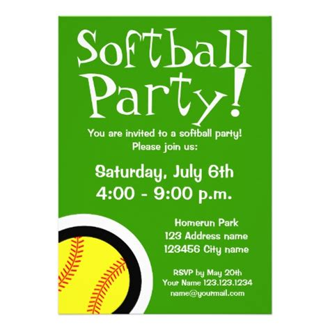 Softball Invitation Template Softball Party Invitations For Birthdays And Bbq 5 Quot X 7 Quot Invitation Card Zazzle