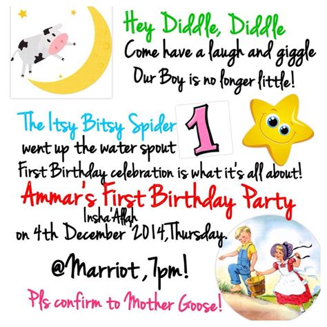 party themes rhyme nursery rhyme invitation first birthday party theme