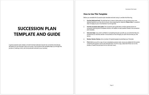 business succession plan template business succession planning template and guide