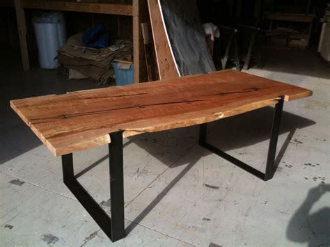 hand made inset i beam dinine table and matching bench by