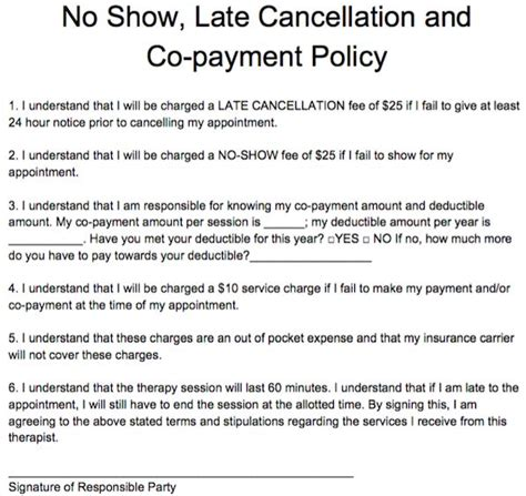 cancellation policy template 17 best images about free counseling note templates on