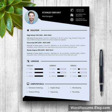 modern resume template free 2016 modern resume template with photo cover letter quot stanley bryant quot creative resume templates