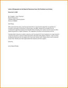 Board Resignation Letter Exle by Letter Of Intent To Resign