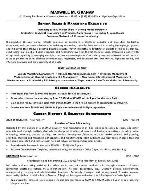 Resume Model For by Model Resume For Marketing Executive Free Sles