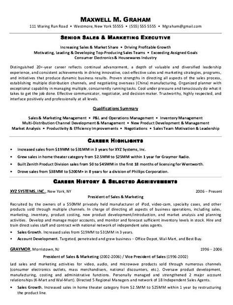 model resume for marketing executive free sles exles format resume curruculum