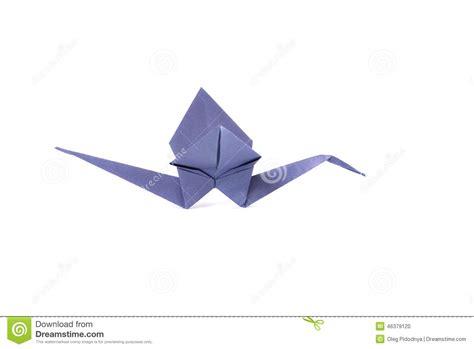 Origami Au - grue violette d origami au dessus de blanc photo stock