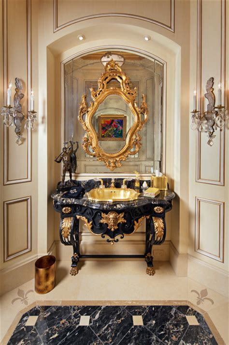 french antique vanity powder room  gold onyx drop  sink mediterranean powder room