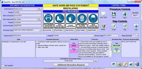 Easyohs Free Safe Work Procedures Work Procedure Template