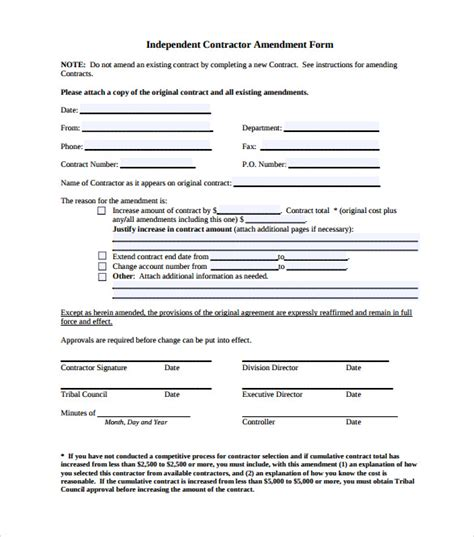 contract amendment template 11 download documents in pdf