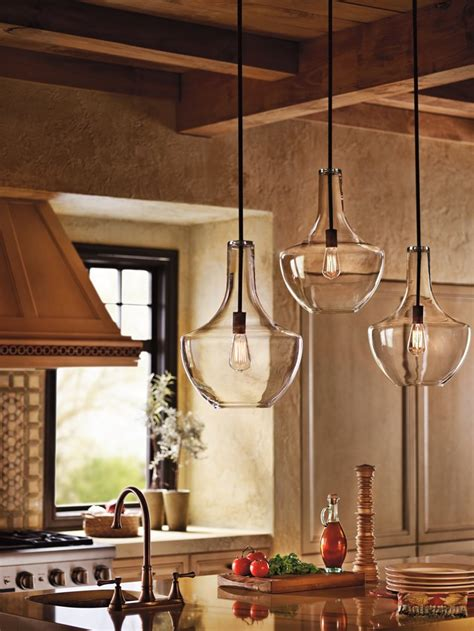 Glass Pendant Lighting For Kitchen Islands Kichler Lighting 42046oz Everly 1 Light Pendant Bronze Finish With Clear Glass