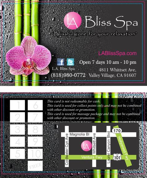 Bliss Spa Gift Card - la bliss spa business cards design inprintla net