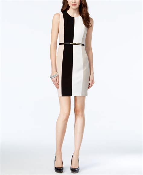calvin klein colorblock belted sheath dress in black lyst