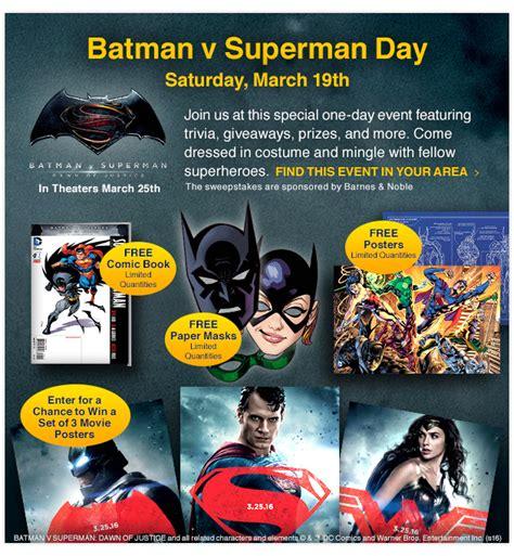 Batman V Superman 19 comicsdc march 19 batman v superman day at barnes noble