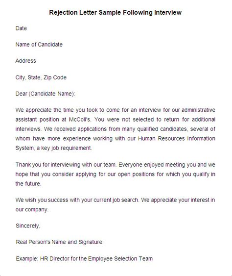 Rejection Letter After Shrm 29 Rejection Letters Template Hr Templates Free