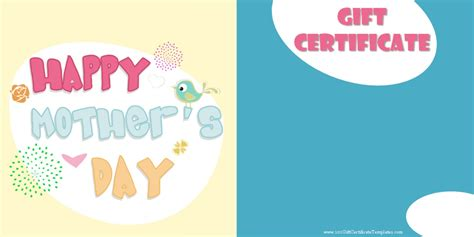 printable gift certificates for mother s day mother s day gift certificate templates