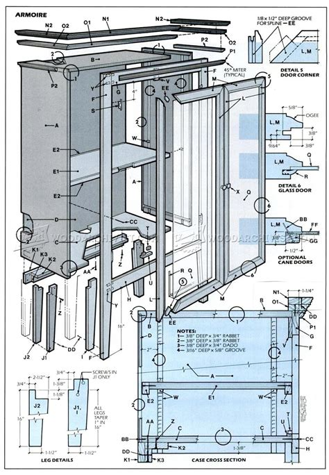Armoire Plans • WoodArchivist T 34 Blueprints