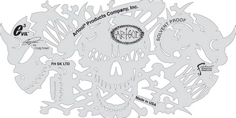 airbrushing templates fh skltd evil 3 template set of 4anest iwata