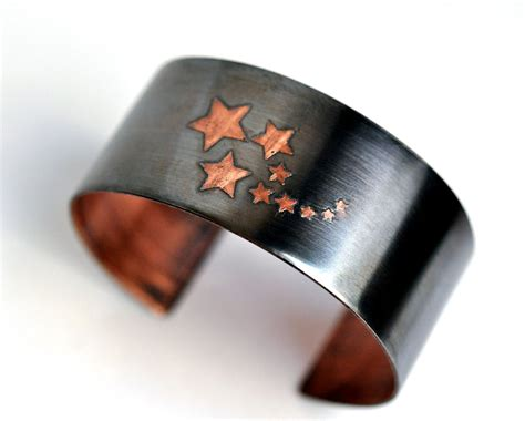 handmade copper cuff bracelet etched by