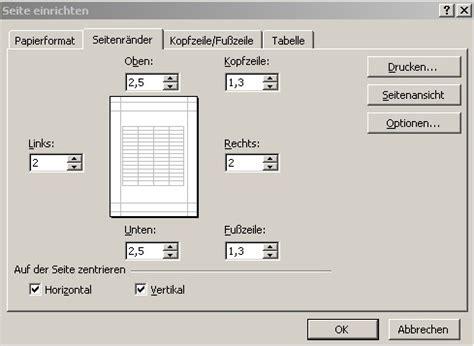 Word Vorlage Trennstreifen Excel Seite Einrichten Einstellungen Zum Drucken