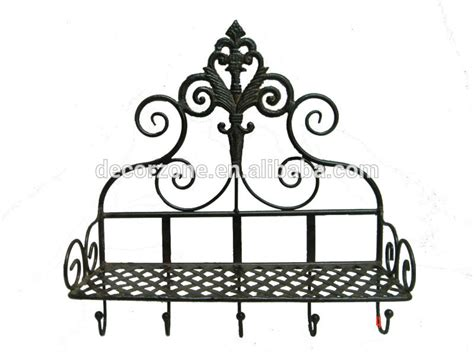 bathroom decorative wrought iron wall shelf with hooks
