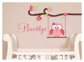 Owl Wall Decals Nursery Owl Decal Monogram Childrens Wall Decals By Justthefrosting