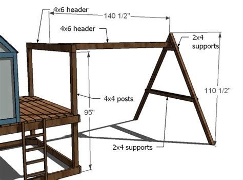 swing set height ana white how to build a swing set for the playhouse