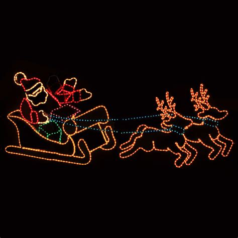 animated holographic santa light sculpture outdoor decoration waving santa with sleigh and reindeer lawn decoration
