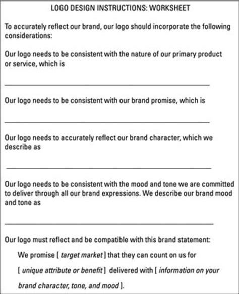 design a logo worksheet how to develop a logo design for your brand dummies