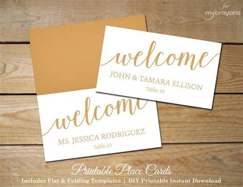 free diy place card template script wedding place cards gold printable