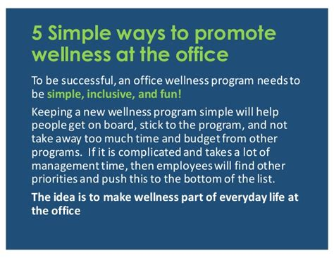 5 simple ways to promote wellness at the office