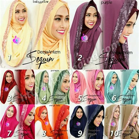 Pakaian Wanita Aksesoris Jilbab Instan Hoodie Tasya jilbab hoodie deeja antem sequin bahan sifon terbaru bundaku net