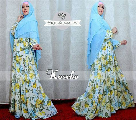 Kimora Dress Gamis Katun kosebo blue baju muslim gamis modern