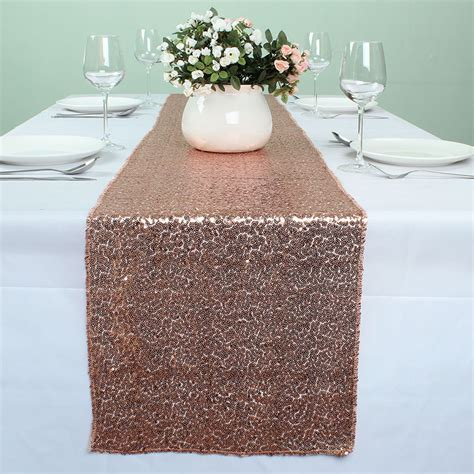 wedding table runners gold 12 x 108 inch rose gold sequin table runners for wedding