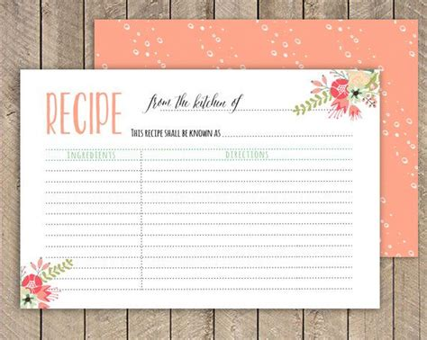 recipe card template deer bridal shower recipe card printable recipe card 4x6