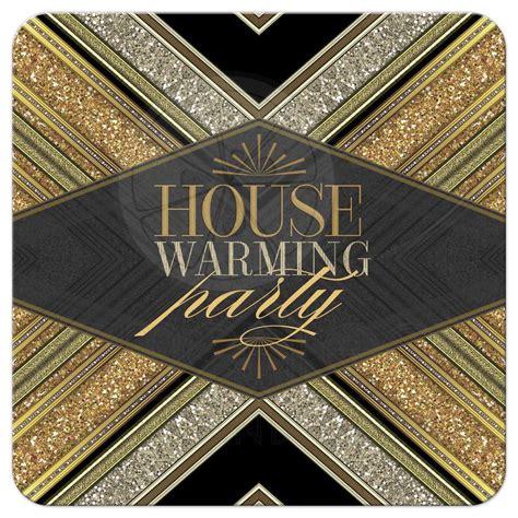 art deco gold glitter house warming party invitation