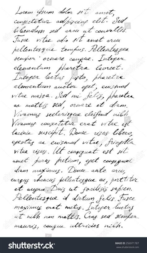 Lorem Ipsum Text Vorlage handwriting letter text lorem stock illustration