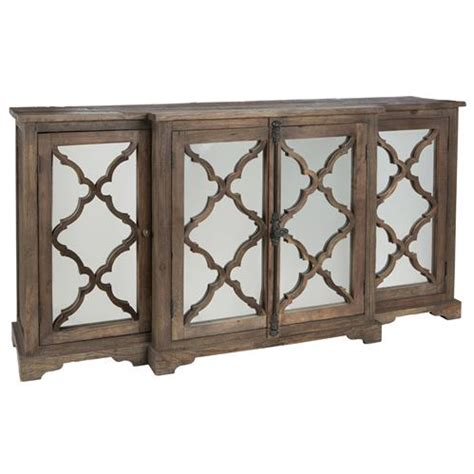 Wayside Wood Buffet Sideboard Cabinet With Glass Paneled Glass Door Buffet Cabinet