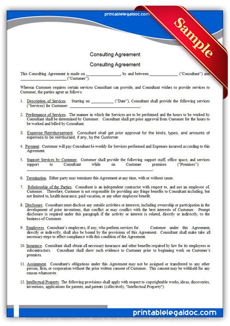 free printable consulting agreement form generic
